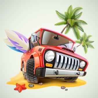 Carro jipe de verão na praia com palmeiras