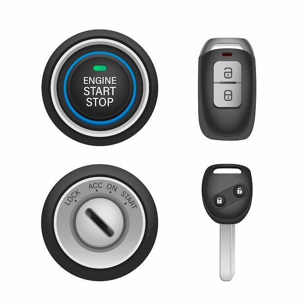 Carro keyless e fechadura com conjunto de ícones de chave remota.