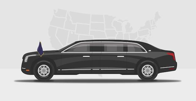 Carro limusine preto blindado presidencial estadual dos eua