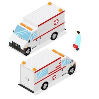 Carro médico de emergência de ambulância. vista isométrica. ilustração