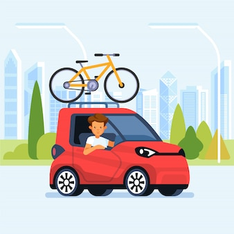 Carro moderno com bicicleta montada no rack de teto. ilustração de estilo