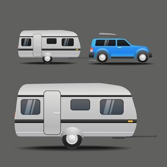 Carro moderno com reboque. ilustração vetorial