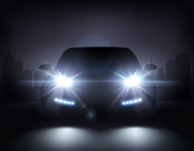 Carro moderno luzes composição