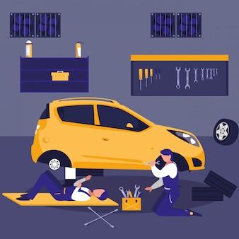 Carro na oficina de manutenção com equipe de mecânica