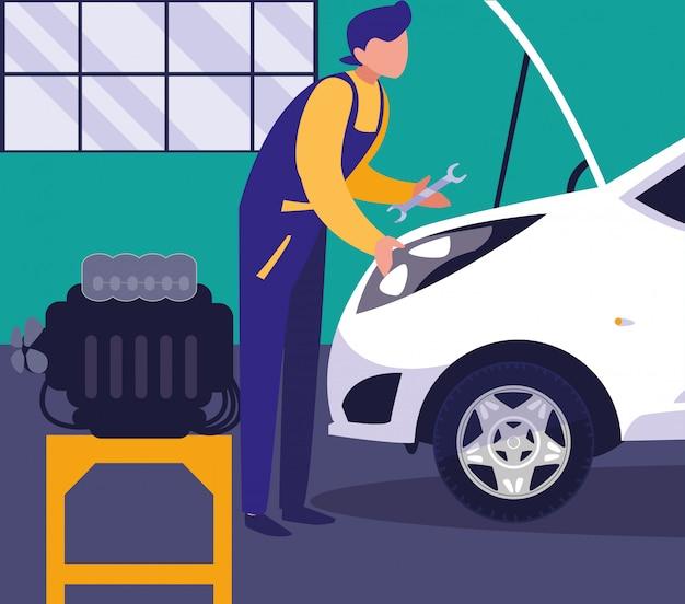 Carro na oficina de manutenção com trabalho mecânico