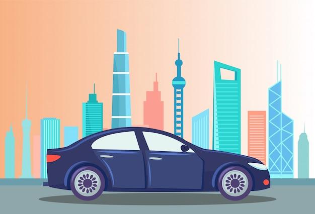 Carro na rua da cidade, paisagem urbana com edifícios
