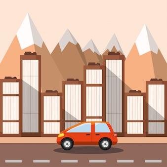 Carro na rua em frente a edifícios