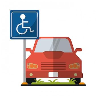 Carro na zona de estacionamento