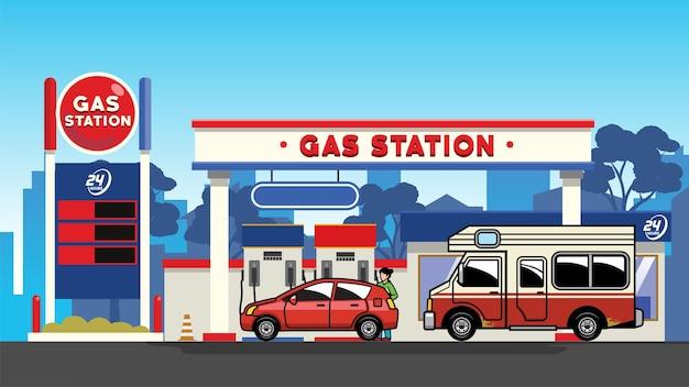 Carro no posto de gasolina