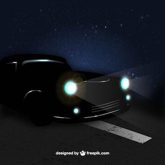 Carro no vector noite
