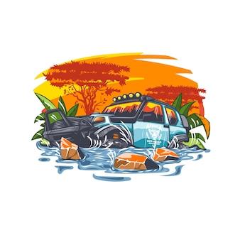 Carro off road na água na paisagem africana ao pôr do sol