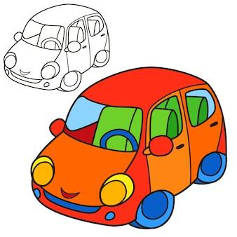 Carro. página do livro para colorir. ilustração de desenho animado