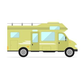 Carro para uma casa móvel. família de trailer de acampamento.