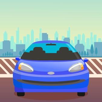 Carro passageiro, sedan, vista dianteira, apartamento, ilustração
