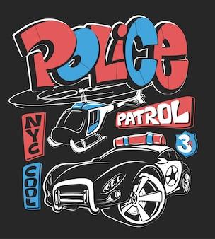 Carro-patrulha da polícia com helicóptero, ilustração de impressão de camisa.