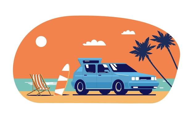 Carro, prancha de surf e poltrona reclinável no fundo da paisagem tropical abstrata.
