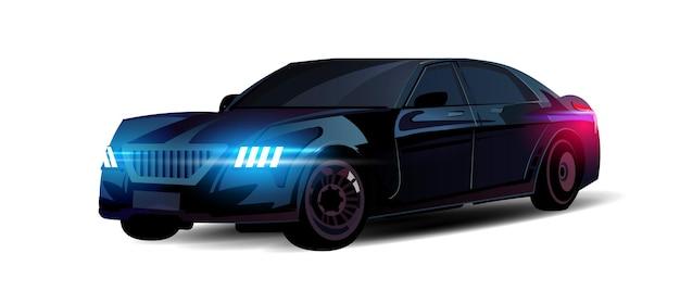 Carro premium de classe executiva com faróis piscando