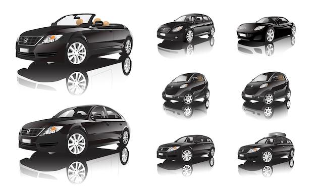 Carro preto tridimensional isolado no fundo branco