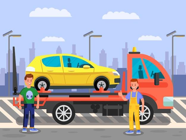 Carro que transporta, ilustração de cor do serviço de transporte por caminhão