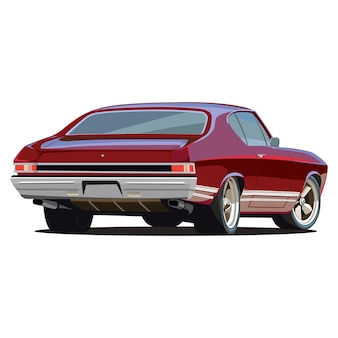 Carro rápido clássico da cor do muscle car