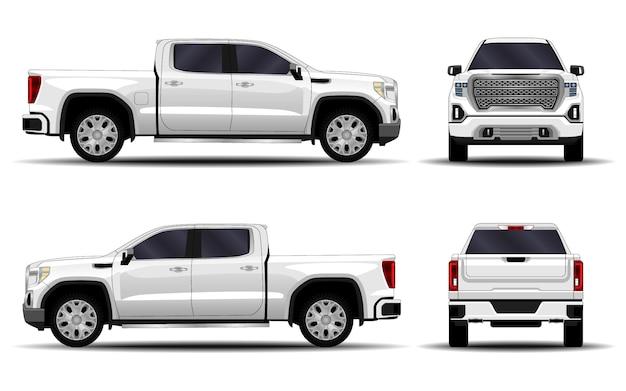 Carro realista. caminhão, picape. vista frontal; vista lateral; vista traseira.
