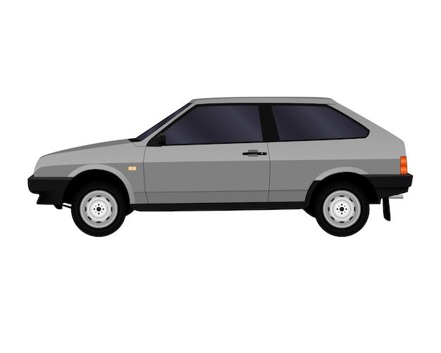 Carro realista. hatchback. vista lateral