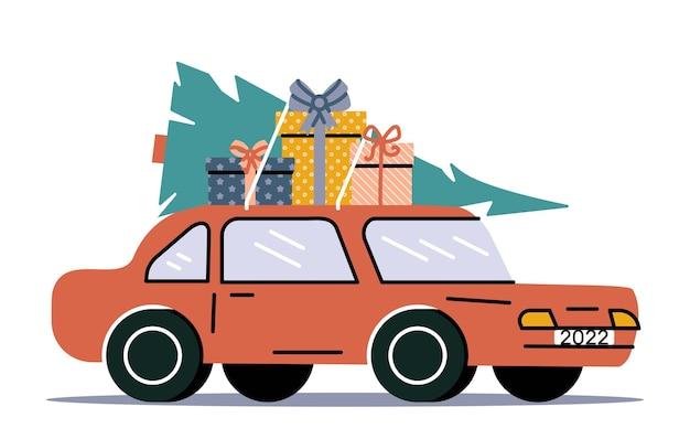 Carro retrô com árvore de natal e presentes de natal com bagagem. ilustração em vetor de carro antigo