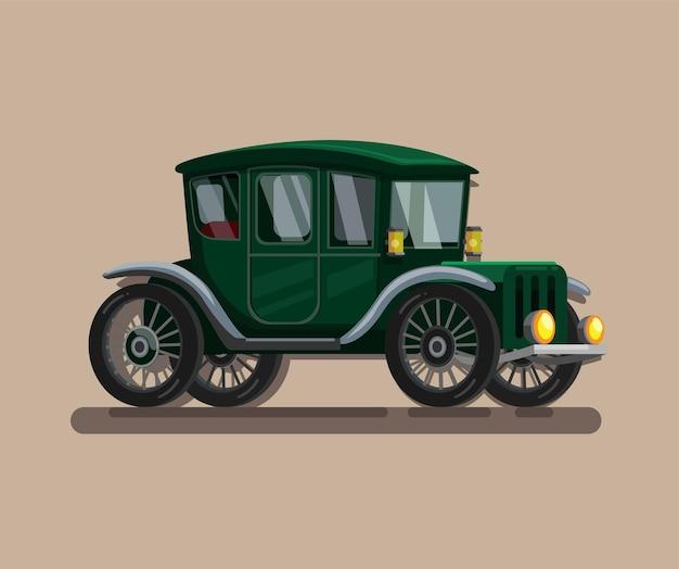 Carro retro do século xix. símbolo do carro na ilustração dos desenhos animados