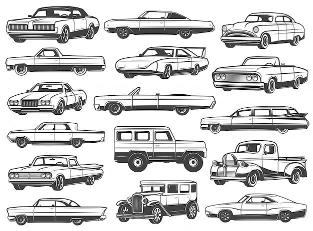 Carro retrô, sedan vintage, cabriolet, pick-up, vagão