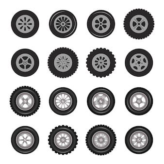 Carro rodas ícones foto detalhada conjunto realista.