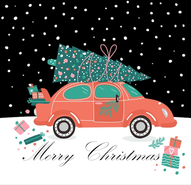 Carro rosa e presentes e árvore de natal. foto de natal. coletor vermelho. serviço de entrega de ilustração de ano novo.