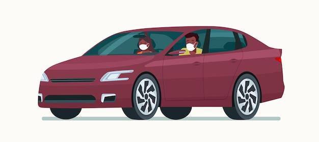 Carro sedan com um jovem afro e uma mulher com uma máscara médica isolada.