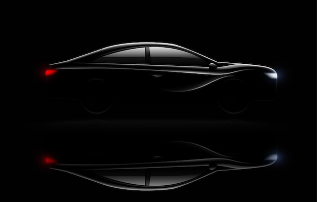 Carro sedan de luxo iluminado na escuridão com faróis e luzes traseiras iluminado reflexão imagem realista