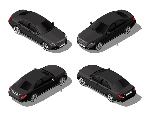 Carro sedan preto isométrico definido de diferentes lados vetor de veículo moderno isolado no whitez