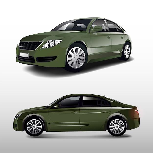 Carro sedan verde isolado no branco vector