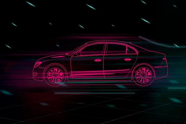 Carro sedan vermelho neon