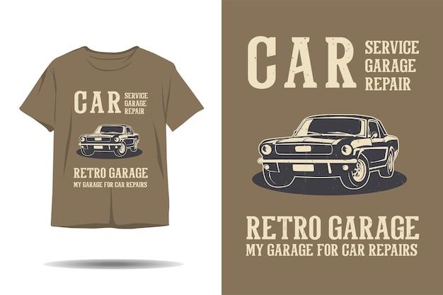 Carro serviço reparo garagem garagem silhueta retrô design de camiseta