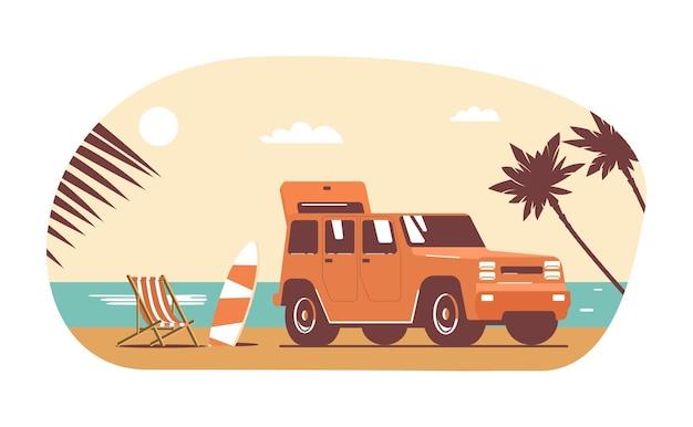 Carro suv com bagagem no fundo da paisagem tropical abstrata.
