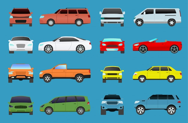 Carro tipo vetor modelo veículo objetos ícones conjunto supercarro multicolor automóvel. roda símbolo carro tipos cupê hatchback. coleção de tráfego showroom campista tipos de carro minivan flat mini automotivo
