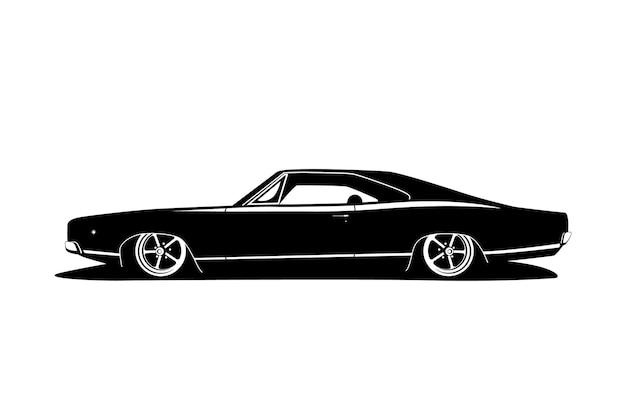Carro tuning clássico com rodas grandes, motor elétrico e compilação de carros baixos. desenho de vetor liso preto branco estilo gangsta americano. veículo de símbolo para impressão ou ícone da web.