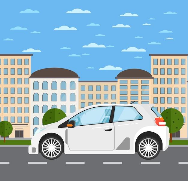 Carro universal familiar na paisagem urbana