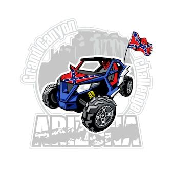 Carro utv no logotipo do arizona grand canyon com bandeira confederada