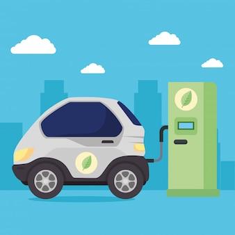Carro veículo elétrico na estrada estação de carregamento