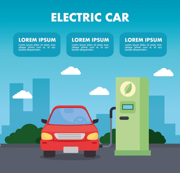 Carro veículo elétrico no modelo de estrada da estação de carregamento