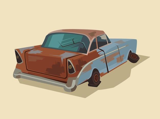Carro velho e enferrujado quebrado