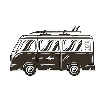 Carro velho ônibus de aventura de viagem com vetor de estilo de vida de pranchas de surf