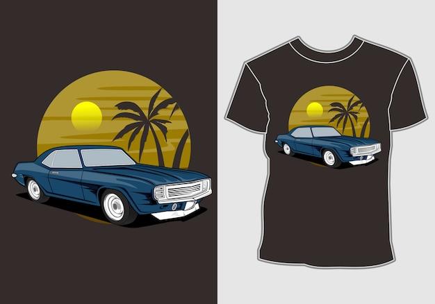 Carro verão pôr do sol praia mar natureza linha gráfico ilustração arte design de t-shirt