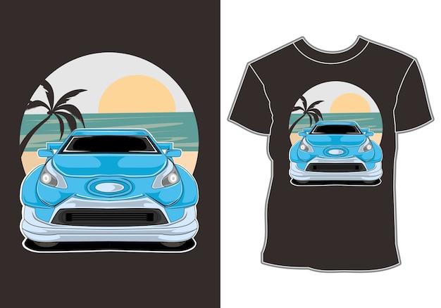 Carro verão pôr do sol praia mar natureza linha ilustração gráfica arte design de t-shirt
