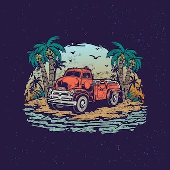 Carro verão salva vidas praia vintage ilustração desenhada mão