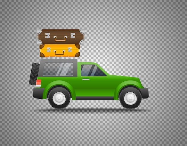 Carro verde com bagagem